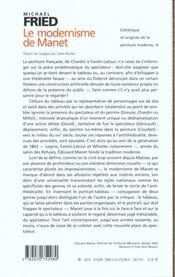 Esthetique et origines de la peinture moderne, iii : le modernisme de manet ou le visage de la peint - 4ème de couverture - Format classique