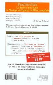 Le barbier de Séville ; le mariage de Figaro ; la mère coupable - 4ème de couverture - Format classique