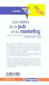 Les metiers de la pub et du marketing - 4ème de couverture - Format classique