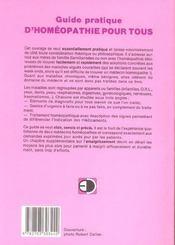 Guide pratique d'homéopathie pour tous - 4ème de couverture - Format classique