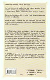 Les Affaires De L'Hotel De Ville De Paris - 4ème de couverture - Format classique