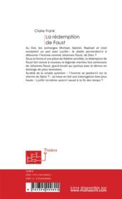 La redemption de Faust - 4ème de couverture - Format classique