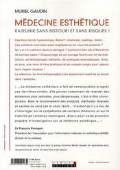 Médecine esthétique : rajeunir sans bistouri et sans risques - 4ème de couverture - Format classique
