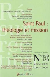 Saint Paul : théologie et missions (janvier 2009-avril 2009) - Couverture - Format classique