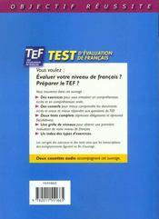 Objectif réussite ; TEF ; livre d'entraînement - 4ème de couverture - Format classique