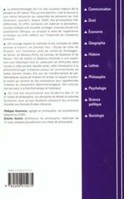 Introduction a la phenomenologie - 4ème de couverture - Format classique
