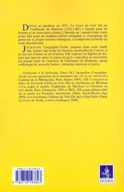 Guillaume De Machaut ; Livre Du Voir Dit - 4ème de couverture - Format classique