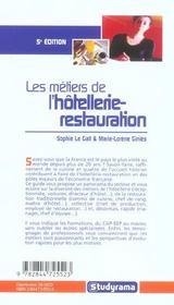 Metiers de l'hotellerie-restauration 5e edition (5e édition) - 4ème de couverture - Format classique