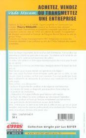 Achetez,vendez ou transmettre une entreprise vade-mecum - 4ème de couverture - Format classique