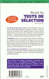Reussir Les Tests De Selection 98 - 4ème de couverture - Format classique