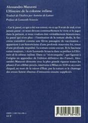 Histoire de la colonne infame (l') - 4ème de couverture - Format classique