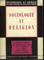 Sociologie Et Religion. Recherches Et Debats N°25. - Couverture - Format classique