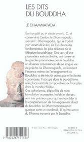 Les dits du bouddha - le dhammapada - 4ème de couverture - Format classique
