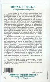 Travail Et Emploi ; Le Temps Des Metamorphoses - 4ème de couverture - Format classique