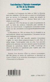 Contribution à l'histoire économique de l'île de la réunion - 4ème de couverture - Format classique