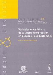 Variables et variations de la liberté d'expression en Europe et aux Etats-Unis - Intérieur - Format classique