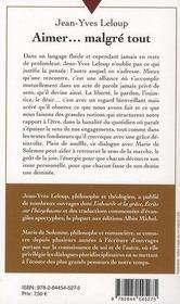 Aimer... malgré tout ; rencontre avec Marie de Solemne - 4ème de couverture - Format classique