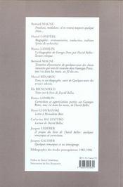 Cahiers georges perec - numero 7 antibiotiques - 4ème de couverture - Format classique