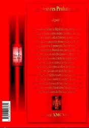 Les oeuvres probatiennes - 4ème de couverture - Format classique