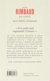 Arthur Rimbaud ; mots, propos, aphorismes - 4ème de couverture - Format classique