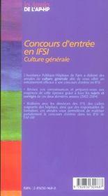 Concours d entree en ifsi 2003/2004 - 4ème de couverture - Format classique