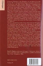 Antoine et cleopatre - 4ème de couverture - Format classique