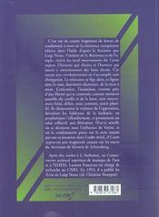 Il Canto Sospeso -De Luigi Nono - 4ème de couverture - Format classique