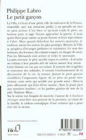 Le Petit Garcon - 4ème de couverture - Format classique