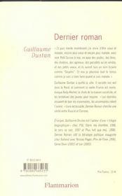 Dernier roman - 4ème de couverture - Format classique