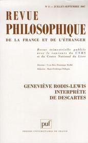 REVUE PHILOSOPHIQUE N.132/3 ; Geneviève Rodis-Lewis interprète de Descartes - Intérieur - Format classique