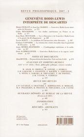 REVUE PHILOSOPHIQUE N.132/3 ; Geneviève Rodis-Lewis interprète de Descartes - 4ème de couverture - Format classique