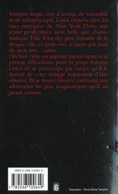 Chroniques des vampires T.5 ; Memnoch le démon - 4ème de couverture - Format classique