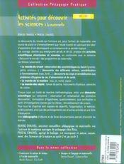 Activités pour découvrir les sciences à la maternelle ; MS, GS - 4ème de couverture - Format classique