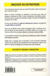 Piloter et réussir l'innovation en entreprise - 4ème de couverture - Format classique