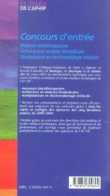 Concours D Entree Masseurs Kine 99-2003 - 4ème de couverture - Format classique