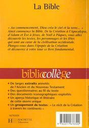 La Bible - 4ème de couverture - Format classique