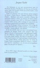Jacques Vaché - 4ème de couverture - Format classique