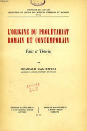 L'Origine Du Proletariat Romain Et Contemporain, Faits Et Theories - Couverture - Format classique