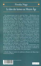 Le don des larmes au moyen age - un instrument spirituel en quete d'institution (ve-xiiie siecle) - 4ème de couverture - Format classique