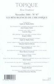 REVUE TOPIQUE N.87 ; les résurgences de l'archaïque (édition 2004) - 4ème de couverture - Format classique