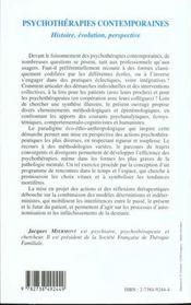 Psychotherapies Contemporaines Histoire Evolution Perspective - 4ème de couverture - Format classique