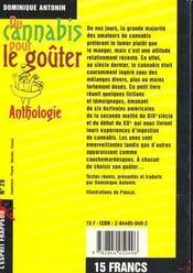Du Cannabis Pour Le Gouter - 4ème de couverture - Format classique