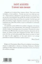 Saint augustin l'amour sans mesure - 4ème de couverture - Format classique
