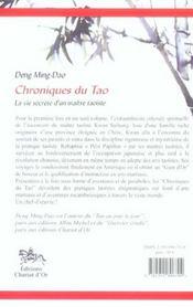 Chroniques du tao - 4ème de couverture - Format classique