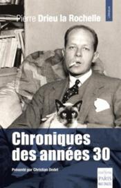 Chroniques des années 30 - Couverture - Format classique