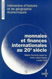 Monnaies & Fin Internat 1re - Couverture - Format classique