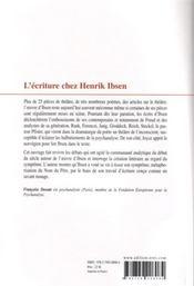 L'écriture chez Henrik Ibsen ; essai psychanalytique - 4ème de couverture - Format classique