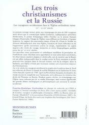 Trois christianismes et la russie - 4ème de couverture - Format classique