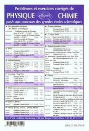 Problemes Corriges De Physique Et Chimie Concours Ens Option Bcpst 1992-1997 - 4ème de couverture - Format classique