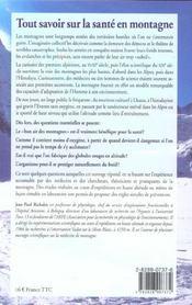 Tout savoir sur la sante en montagne - 4ème de couverture - Format classique